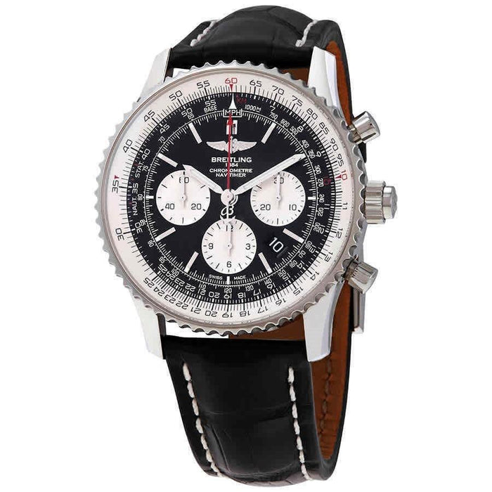 Breitling Navitimer 1 Automatic Chronograph Black Leather Watch AB031021-BF77-760P