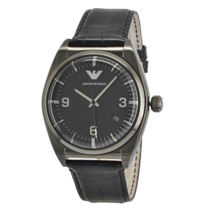 Emporio Armani Men's AR0368 Classic Black Leather Watch