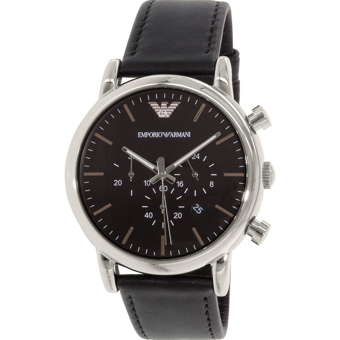 Emporio Armani Men's AR1828 Classic Chronograph Black Leather Watch