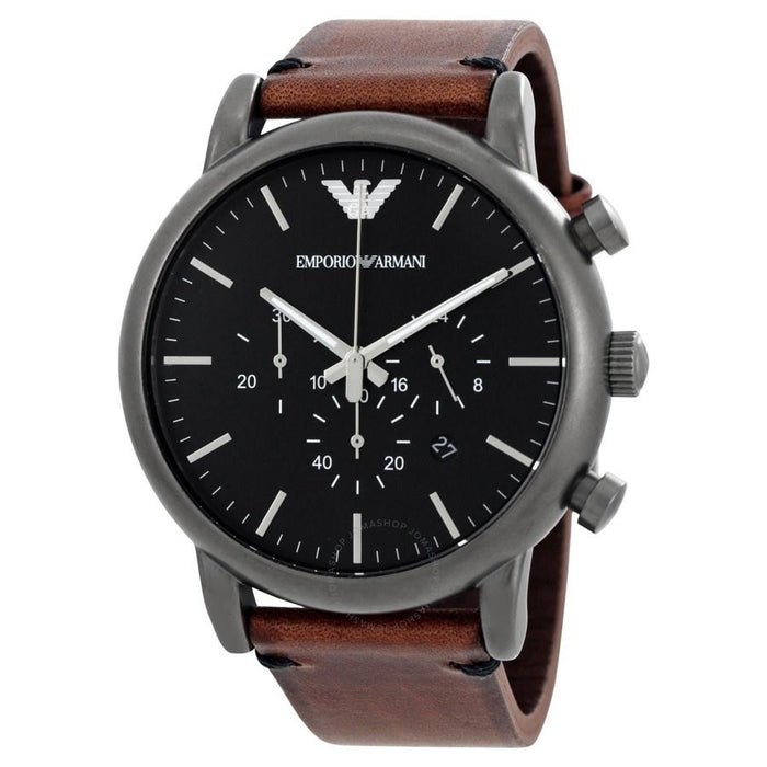 Emporio Armani Men's AR1919 Dress Chronograph Brown Leather Watch