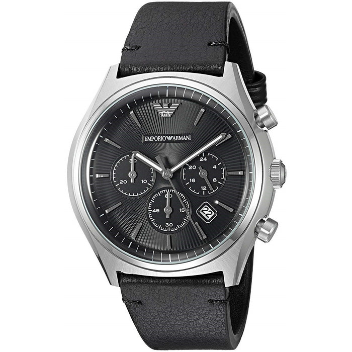 Emporio Armani Men's AR1975 Dress Chronograph Black Leather Watch