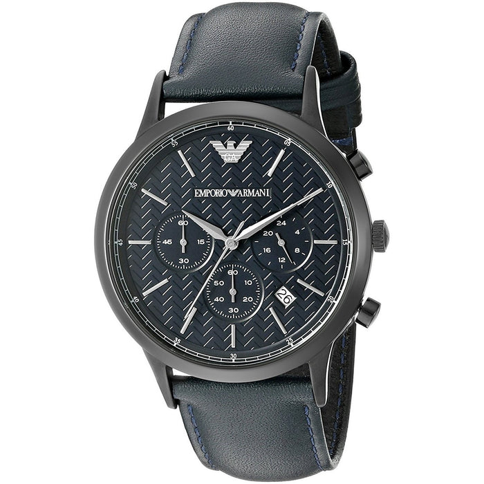Emporio Armani Men's AR2481 Dress Chronograph Blue Leather Watch