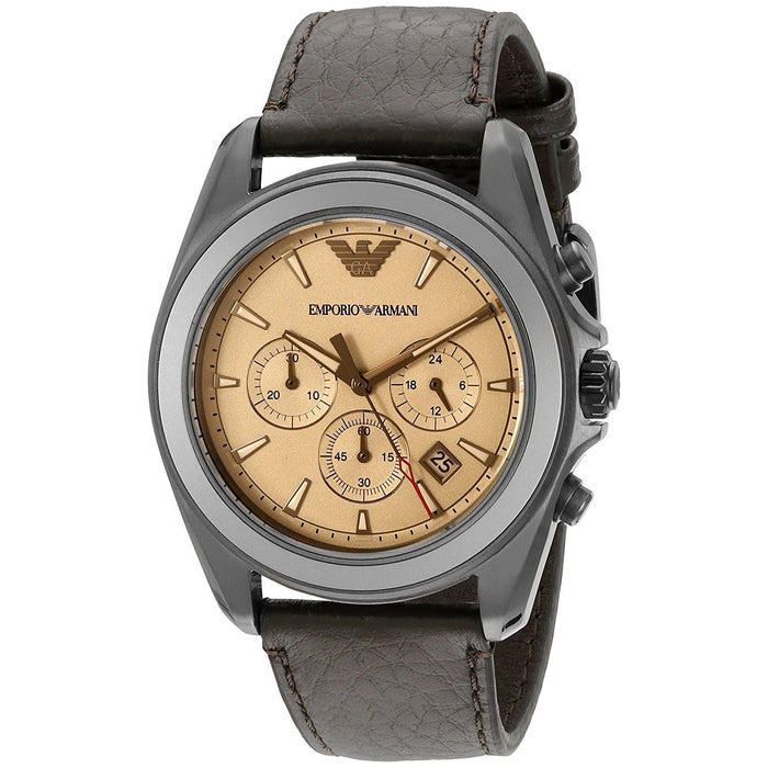 Emporio Armani Men's AR6070 Sportivo Chronograph Brown Leather Watch