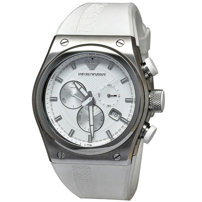 Emporio Armani Men's AR6103 Sportivo Chronograph White Rubber Watch