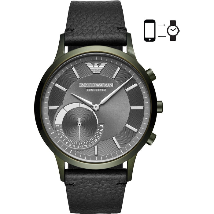 Emporio Armani Men's ART3021 Connected Black Leather Watch