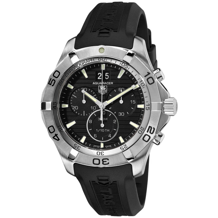 Tag Heuer Aquaracer Quartz Chronograph Chronotimer Automatic Black Rubber Watch CAK2110.FT8011