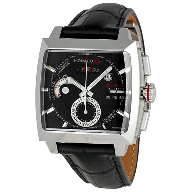 Tag Heuer Monaco LS Automatic Chronograph Automatic Black Leather Watch CAL2110.FC6257