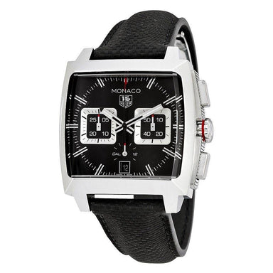 Tag Heuer Monaco Automatic Chronograph Black Leather Watch CAL2113.FC6536