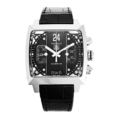 Tag Heuer Monaco Quartz Chronograph Black Leather Watch CAL5113.FC6329