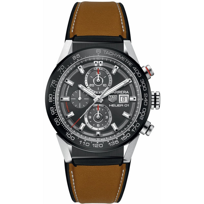 Tag Heuer Carrera Quartz Chronograph Brown Leather with Rubber  Watch CAR201W.FT6122