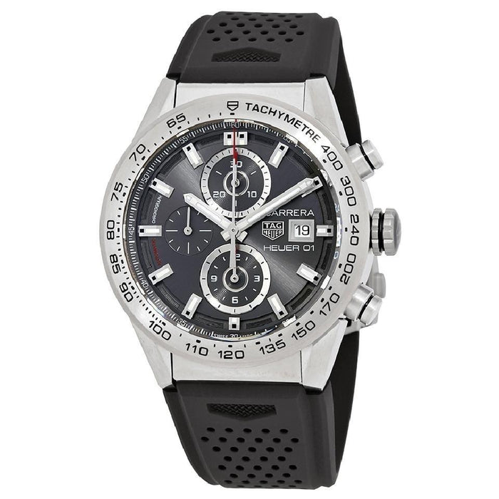 Tag Heuer Carrera Calibre Heuer 01 Automatic Chronograph Automatic Black Rubber Watch CAR208Z.FT6046