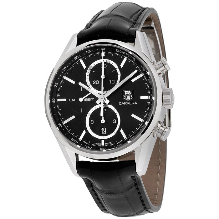 Tag Heuer Carrera Automatic Automatic Chronograph Black Leather Watch CAR2110.FC6266