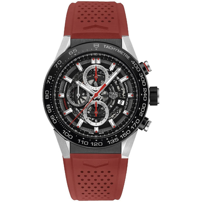 Tag Heuer Carrera Calibre Heuer 01 Automatic Chronograph Automatic Red Rubber Watch CAR2A1Z.FT6050