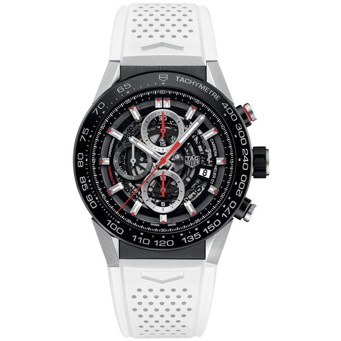 Tag Heuer Carrera Calibre Heuer 01 Automatic Chronograph Automatic White Rubber Watch CAR2A1Z.FT6051