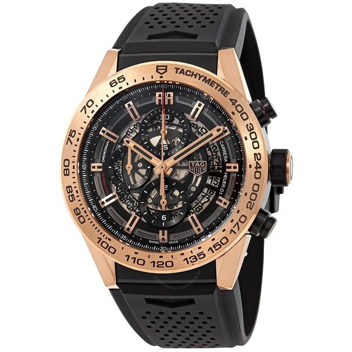 Tag Heuer Carrera Calibre Heuer 01 Automatic 18 Carat Rose Gold Chronograph Automatic Black Rubber Watch CAR2A5B.FT6044
