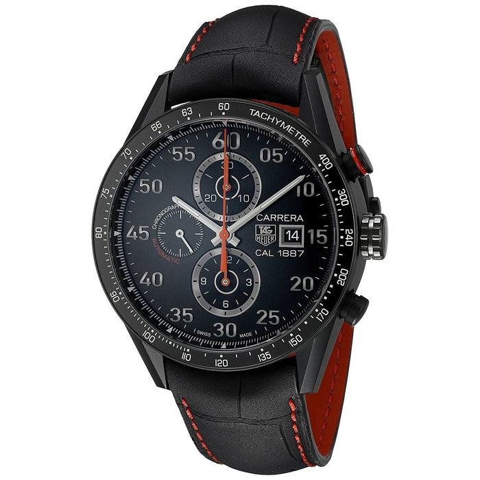 Tag Heuer Carrera Calibre 1887 Automatic Chronograph Automatic Black Leather Watch CAR2A80.FC6237