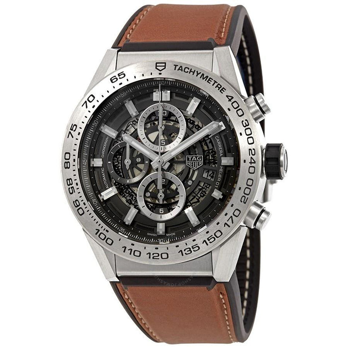 Tag Heuer Carrera Calibre Heuer 01 Automatic Chronograph Automatic Brown Barenia calfskin leather Watch CAR2A8A.FT6072