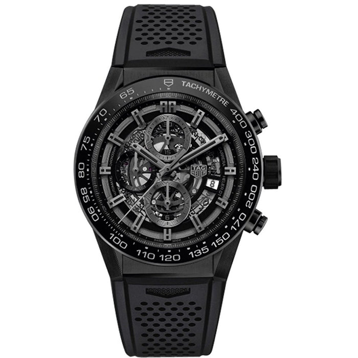 Tag Heuer Carrera Calibre Heuer 01 Automatic Chronograph Automatic Black Rubber Watch CAR2A91.FT6071