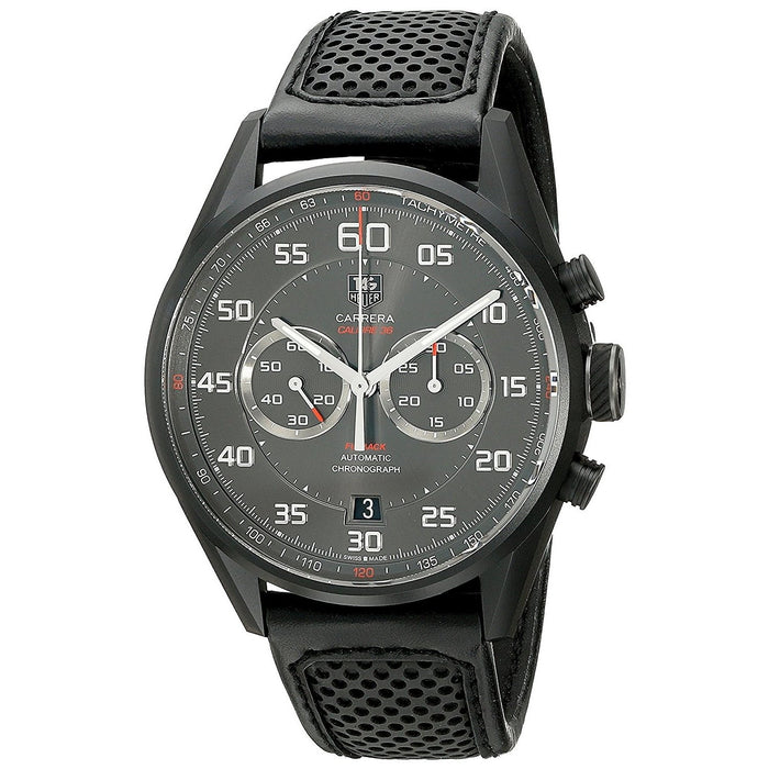 Tag Heuer Carrera Automatic Chronograph Automatic Black Leather Watch CAR2B80.FC6325