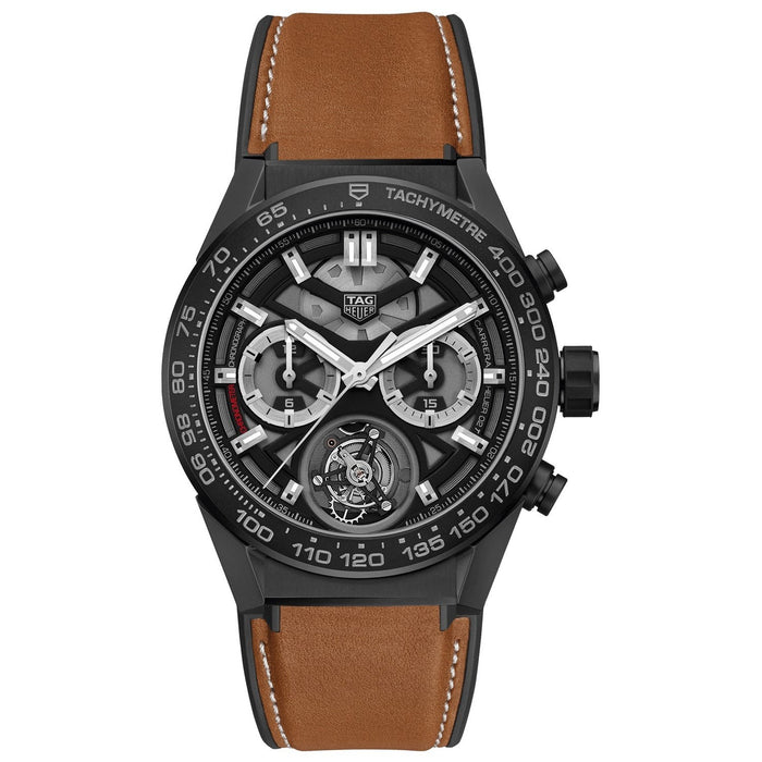 Tag Heuer Carrera Quartz Chronograph Brown Leather Watch CAR5A90.FT6121