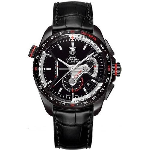 Tag Heuer Grand Carrera Automatic Chronometer Automatic Black Leather Watch CAV5185.FC6257