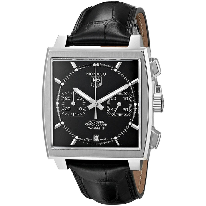 Tag Heuer Monaco Automatic Chronograph Automatic Black Leather Watch CAW2110.FC6177
