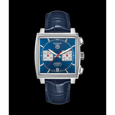 Tag Heuer Monaco Quartz Chronograph Blue Leather Watch CAW2111.FT6021
