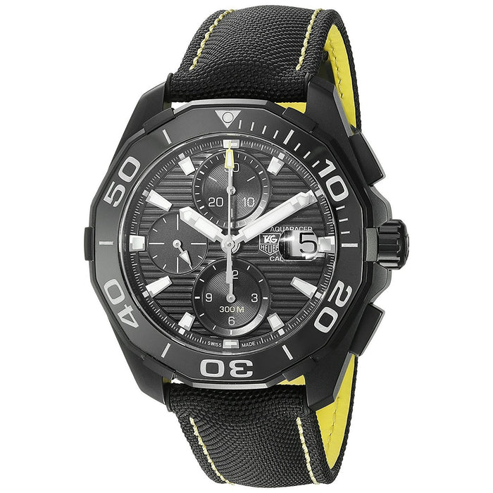 Tag Heuer Aquaracer Automatic Chronograph Automatic Black Canvas and Leather Watch CAY218A.FC6361