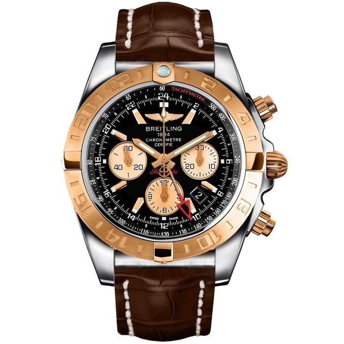 Breitling Chronomat GMT Automatic Chronograph Brown Leather Watch CB042012-BB86-739P