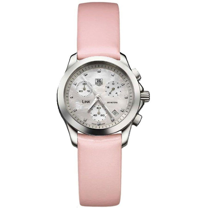 Tag Heuer Link Quartz Chronograph Pink Leather Watch CJF1312.FC6190