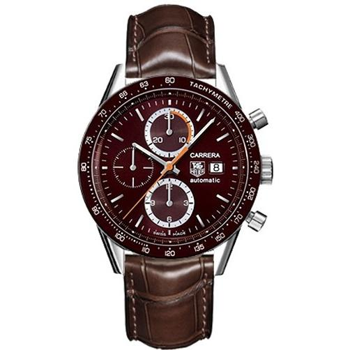 Tag Heuer Carrera Automatic Chronograph Brown Leather Watch CV2013.FC6291
