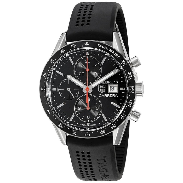 Tag Heuer Carrera Automatic Chronograph Automatic Black Rubber Watch CV201AK.FT6040