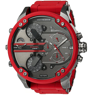 Diesel Mr. Daddy 2.0 Quartz Chronograph 4 Time Zones Red Stainless steel and Silicone Watch DZ7370