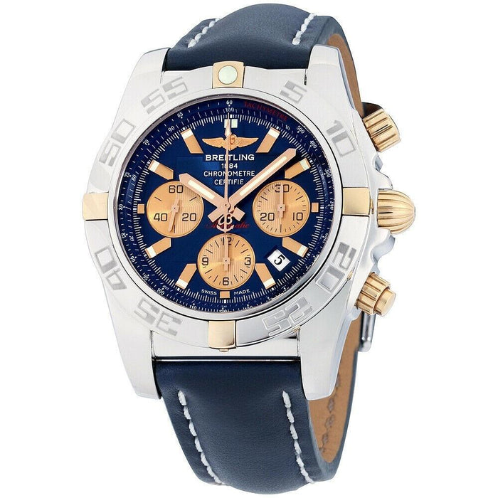 Breitling Chronomat Automatic Chronograph Blue Leather Watch IB011012-C790-105X