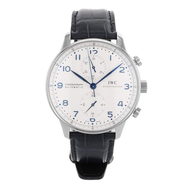 IWC Portuguese Automatic Chronograph Automatic Blue Leather Watch IW371446