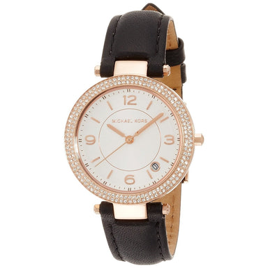 Michael Kors Mini Parker Quartz Crystal Black Leather Watch MK2462