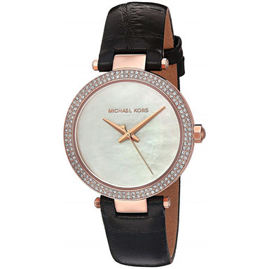 Michael Kors Mini Parker Quartz Crystal Black Leather Watch MK2591