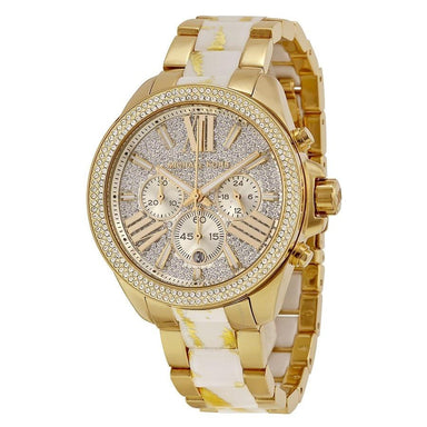 Michael Kors Wren Quartz Chronograph Crystal Gold-Tone Stainless Steel Watch MK6157