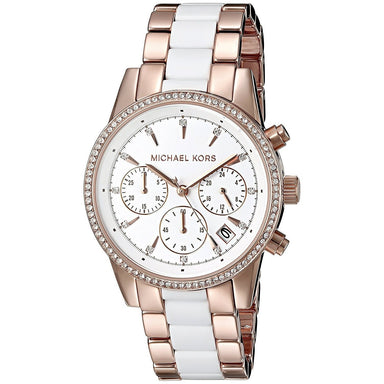 Michael Kors Ritz Quartz Chronograph Crystal Two-Tone Stainless steel and Acetate Watch MK6324