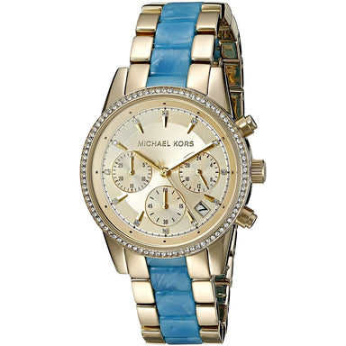 Michael Kors Ritz Quartz Chronograph Crystal Two-Tone Stainless steel and Acetate Watch MK6328