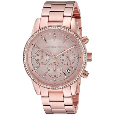 Michael Kors Ritz Quartz Chronograph Crystal Rose-Tone Stainless Steel Watch MK6357