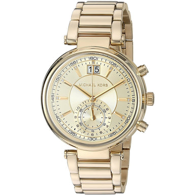 Michael Kors Sawyer Quartz Dual Time Crystal Gold-Tone Stainless Steel Watch MK6362