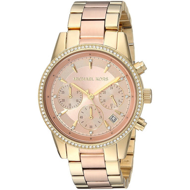 Michael Kors Ritz Quartz Chronograph Crystal Two-Tone Stainless Steel Watch MK6475