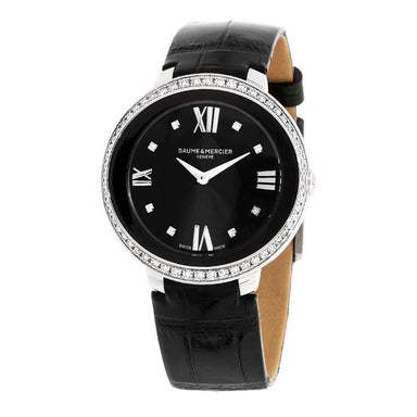 Baume & Mercier Promesse  Quartz Black Leather Watch MOA10166