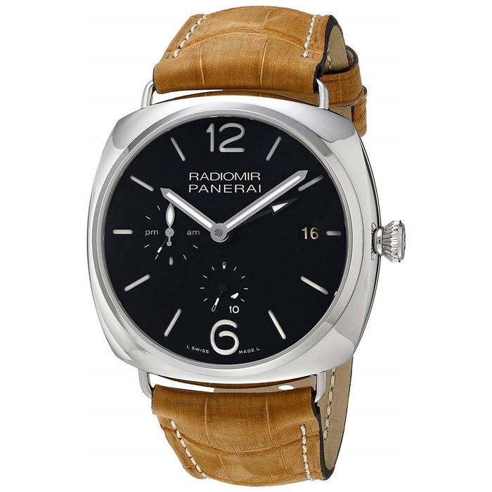 Panerai Radiomir Acciaio Mechanical 10 Days GMT Hand Wind Brown Leather Watch PAM00323