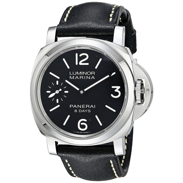 Panerai Luminor Marina 1950 Acciaio Mechanical 8 Days Hand Wind Black Leather Watch PAM00510