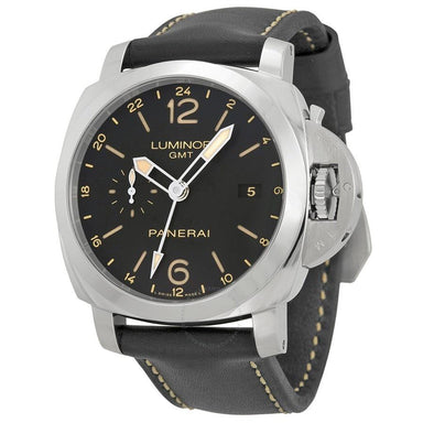 Panerai Luminor 1950 Acciaio Automatic 3 Days GMT 24H Automatic Black Leather Watch PAM00531