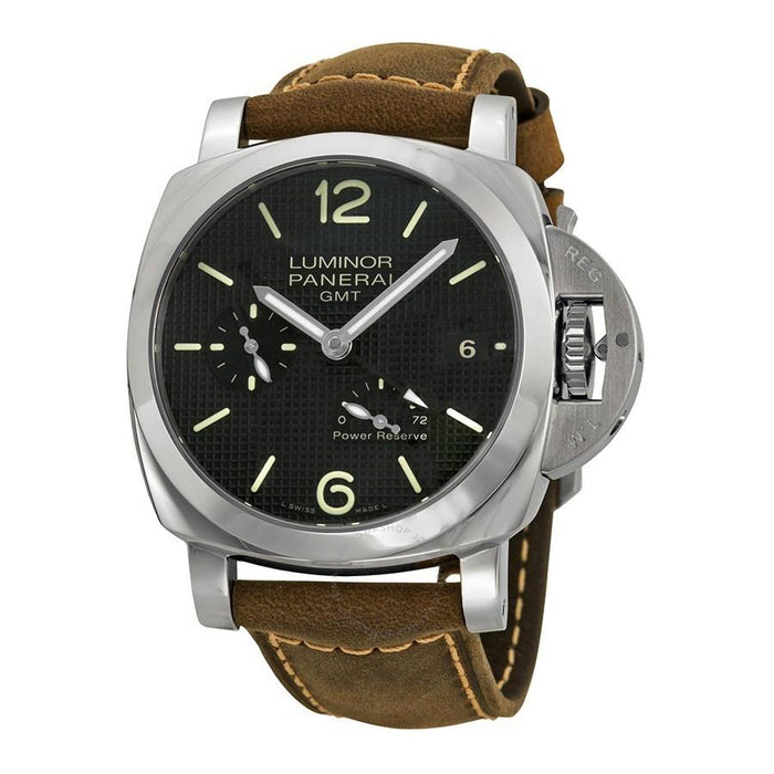 Panerai Luminor Marina 1950 3 Days GMT Poer Reserve Acciaio Automatic Automatic Brown Leather Watch PAM00537