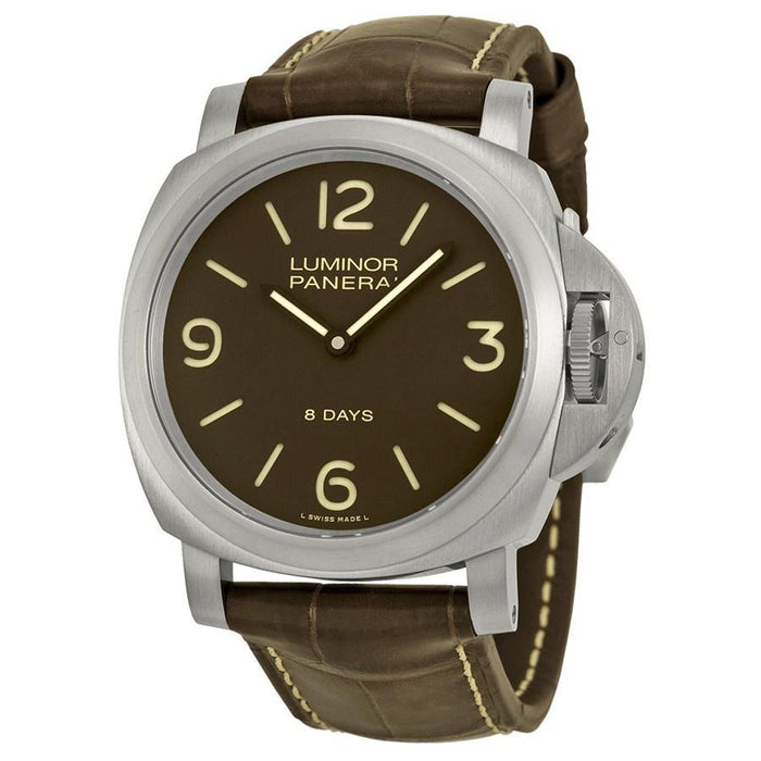 Panerai Luminor Base 8 Days Acciaio Mechanical Mechanical Hand Wind Brown Leather Watch PAM00562