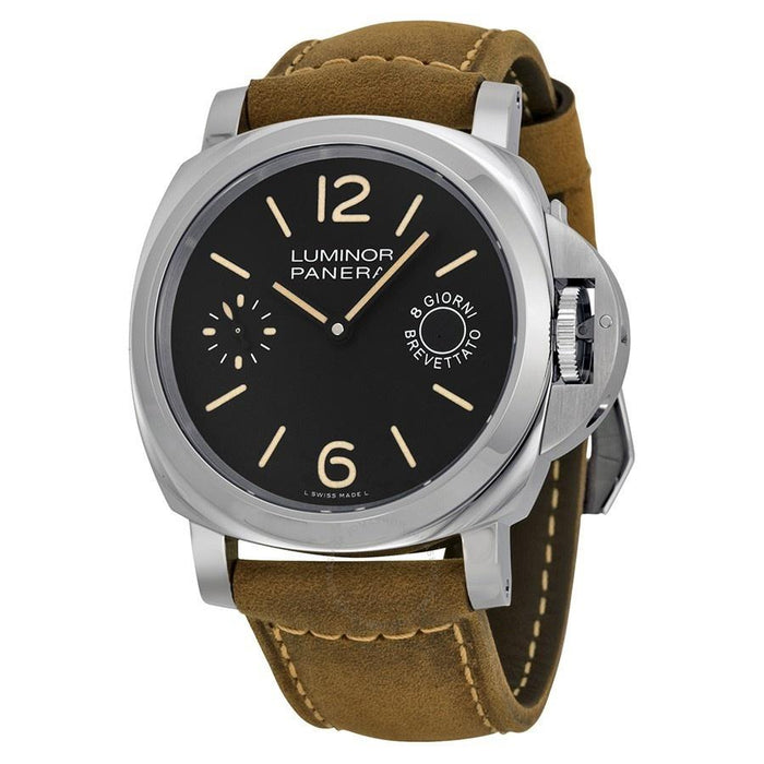 Panerai Luminor Marina 1950 Acciaio Mechanical 8 Days Hand Wind Brown Leather Watch PAM00590
